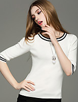 Women's Going out / Casual/Daily Simple / Cute / Street chic Regular Pullover,Color Block Blue / White / Black / Yellow Round Neck½