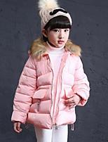 Piumino e giubbino di cotone Girl Casual Tinta unita Poliestere Inverno Rosa / Grigio
