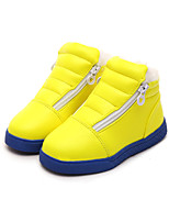 Girl's Boots Fall Winter Snow Boots Leatherette Casual Flat Heel Zipper Black Yellow White Walking