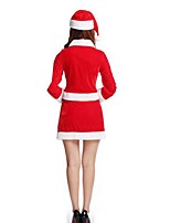 Christmas Costume /Holiday Halloween Costumes Red Solid Top / Belt / Hats / Shorts Christmas Female Pleuche