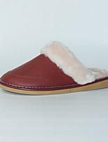 M.livelihood.H Women's Slippers & Flip-Flops Winter Slingback Cowhide Casual Flat Heel Others Burgundy Others-TY201610