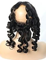 360 Лобовой Свободные волны Человеческие волосы закрытие Умеренно-коричневый Швейцарское кружево 100g грамм Средние Размер крышки
