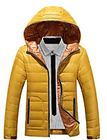 Men's Long Down Coat,Simple Casual/Daily Solid-Polyester White Duck Down Long Sleeve Hooded Yellow