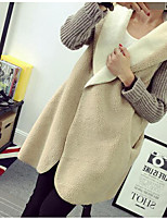 Women's Casual/Daily Simple Regular Cardigan,Solid White / Gray Notch Lapel Long Sleeve Wool Winter Medium Micro-elastic