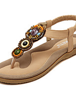 Women's Sandals Spring / Summer / Fall Mary Jane Dress / Casual Flat Heel Imitation Pearl / Buckle / Slip-on Black / Almond Walking