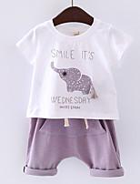 Мальчик Набор одежды,На каждый день,С принтом,Хлопок,Лето,Синий / Фиолетовый
