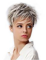 6 синтетические короткие светлые волосы парик темный корень женский парик эльфа вырезать афро-американских парик для женщин косплей парик