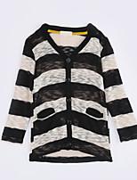 Girl Casual/Daily Striped Sweater & Cardigan,Cotton Fall Long Sleeve Regular