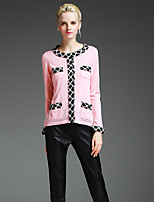 Women's Going out Simple Regular Cardigan,Patchwork Pink Black Round Neck Long Sleeve Wool Fall Medium Micro-elastic