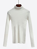 Women's Simple Regular CardiganSolid Pink / White / Black / Brown / Gray Turtleneck Long Sleeve Cotton Fall Medium