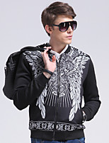 Men's Daily/Formal/Work Simple/Street chic Jackets Print Stand Long Sleeve All Seasons Black Cotton/Polyester Medium