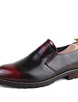 Черный Красный-Мужской-Свадьба Для офиса Для вечеринки / ужина-Кожа-На плоской подошве-Удобная обувь-Туфли на шнуровке