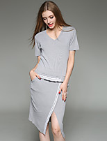 Women's Plus Size / Casual/Daily Simple / Active Bodycon DressSolid V Neck Knee-length Short Sleeve Black / Gray