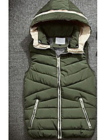 Men's Regular Padded Coat,Simple Casual/Daily Solid-Polyester Cotton Sleeveless Hooded Blue / Red / Black / Green