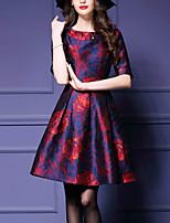 Women's Casual/Daily Simple Sheath Dress,Print Round Neck Above Knee Long Sleeve Red Polyester All Seasons Mid Rise Micro-elastic Medium