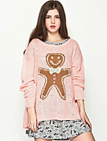AOKNI Women's Round Neck Long Sleeve Sweater & Cardigan Pink / Orange-216
