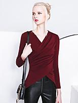 Tee-shirt Femme,Couleur Pleine Décontracté / Quotidien simple Printemps / Automne Manches Longues Col en V Rouge / Noir Coton Opaque