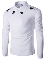 Men's Casual/Daily Simple Spring / Fall T-shirtSolid / Print Round Neck Long Sleeve White / Black Cotton Medium