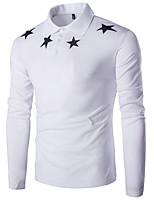 Heren Eenvoudig Lente / Herfst T-shirt,Casual/Dagelijks Effen / Print Ronde hals Lange mouw Wit / Zwart Katoen Medium