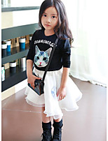 Girl's Casual/Daily Print Dress / Hoodie & Sweatshirt / Clothing SetCotton Fall Black
