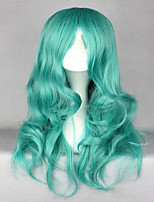 Classical Anime Pretty Soldier Sailor Moon Kaiou Michiru 65cm Long Green Wave Synthetic Wig