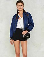 Damen Solide Einfach Lässig/Alltäglich Jacke,Herbst V-Ausschnitt Langarm Blau / Rot / Grün Mittel Polyester