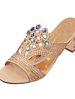 Women's Sandals Summer Glitter Casual Chunky Heel Sparkling Glitter Black / Blue / Royal Blue / Beige Walking