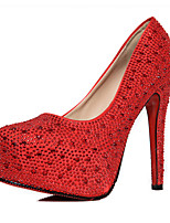 Damen-High Heels-Lässig-PU-Stöckelabsatz-Komfort-Rot Silber