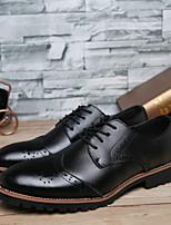 Черный-Мужской-На каждый день-КожаУдобная обувь-Туфли на шнуровке