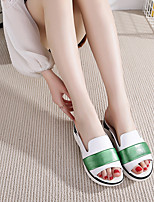 Women's Sandals Summer Comfort Leather Casual Flat Heel Split Joint Green Others