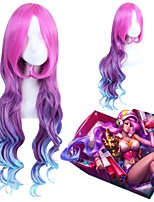 100cm LOL Miss Fortune Arcade Sexy Women Long Rose Red Purple Blue Gradient Wave Cosplay Costume Wig Party Wig