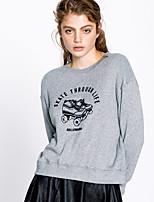 Women's Going out Cute Regular Hoodies,Print Gray Round Neck Long Sleeve Rayon Fall Medium Micro-elastic