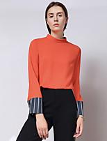 Chemisier Femme,Mosaïque Sortie simple Automne Manches Longues Col Ras du Cou Rouge / Noir Polyester / Spandex Moyen