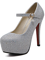 Women's Heels Spring Summer Fall Winter Synthetic Wedding Dress Party & Evening Stiletto Heel Rhinestone Silver