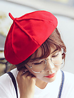 Women Winter Casual Solid Color Wool  British Dome Beret Octagonal Cap