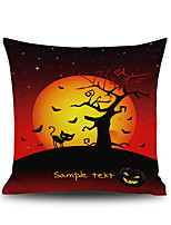 Halloween Night Cushion Cover Black Cat Old Oak Tree Square Linen  Decorative Throw Pillow Case
