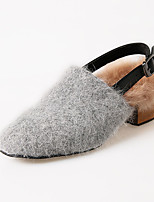 Women's Sandals Winter Novelty Fur Casual Low Heel Buckle Black Gray Almond Walking