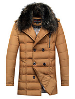 Men's Down Coat,Street chic Plus Size Solid-Polyester White Duck Down Long Sleeve Shirt Collar Black / Brown / Yellow