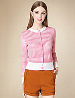 Women's Casual/Daily Simple Short Cardigan,Plaid Pink Round Neck Long Sleeve Cotton Fall Thin Inelastic