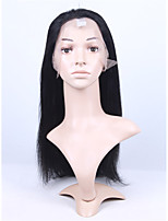 Brazilian Virgin Human Hair Dark Black Color Full Lace & Lace Front Yk Straight Wig With Baby Hair