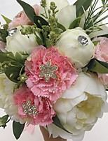 Wedding Flowers Round Peonies Bouquets Wedding Party/ Evening Satin Rhinestone 9.84