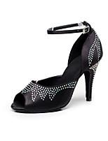 Women's Dance Shoes Satin Latin / Salsa Sandals  Rhinestone Customized Heel Indoor / Performance Black / Pink / Purple