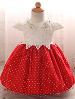 Girl's Party/Cocktail Polka Dot DressPolyester Summer Pink / Red