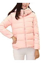 Women's Short Down CoatDaily Solid /Polyester Polyester / Cotton Long Sleeve Round NeckBlue / Pink / Black