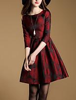 Patineuse Robe Femme Décontracté / Quotidien Sophistiqué,Broderie Col Arrondi Mini Manches ¾ Rouge Coton Printemps Automne Taille Normale