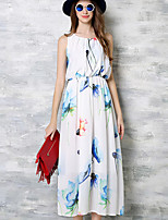 Women's Plus Size / Going out Simple / Street chic Chiffon DressFloral Round Neck Midi Sleeveless White Polyester