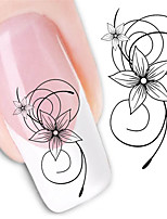 Black Flower Nail Stickers Decals Manicure Water Transfer Nail Art Sticker