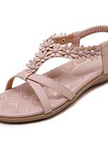 Women's Sandals Summer Open Toe Casual Flat Heel Flower Pink / Gray Walking