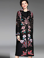 PROVERB  Women's Plus Size / Casual/Daily Chinoiserie CoatCamouflage Long Sleeve Red / Black / Green Others