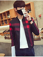 Men's Casual/Daily Simple Jackets,Check Stand Long Sleeve Fall Red Cotton Thin